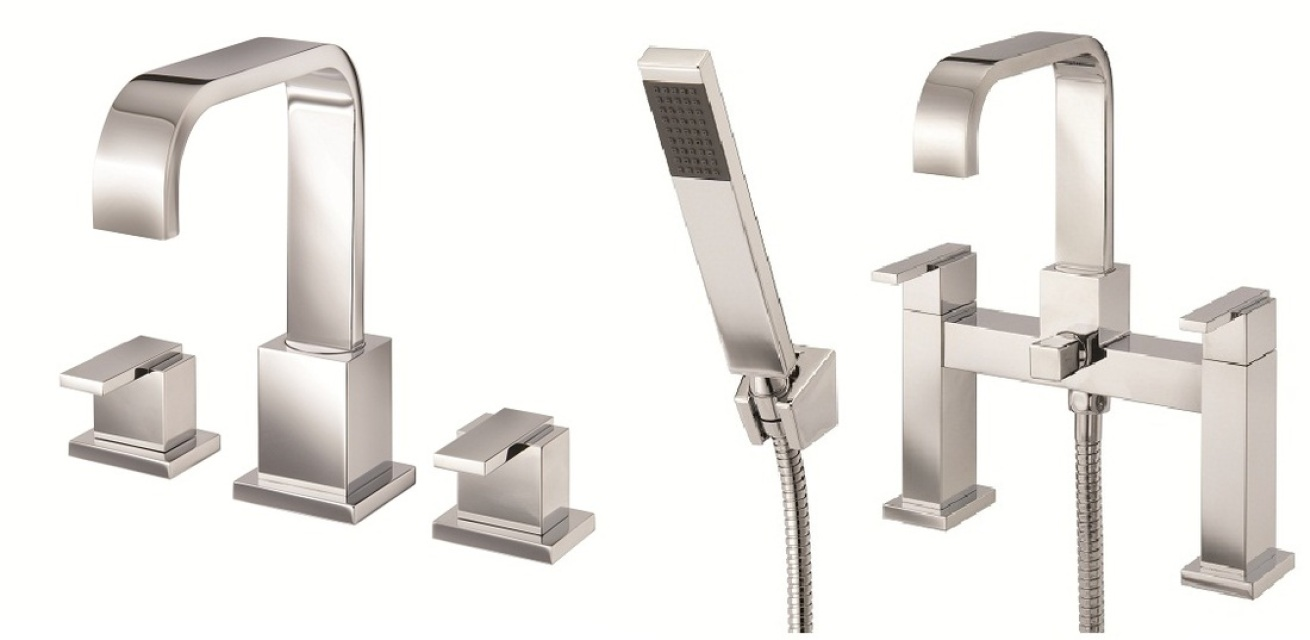 Mayfair Flow 3 Hole Basin & Bath Shower Mixer Tap Set