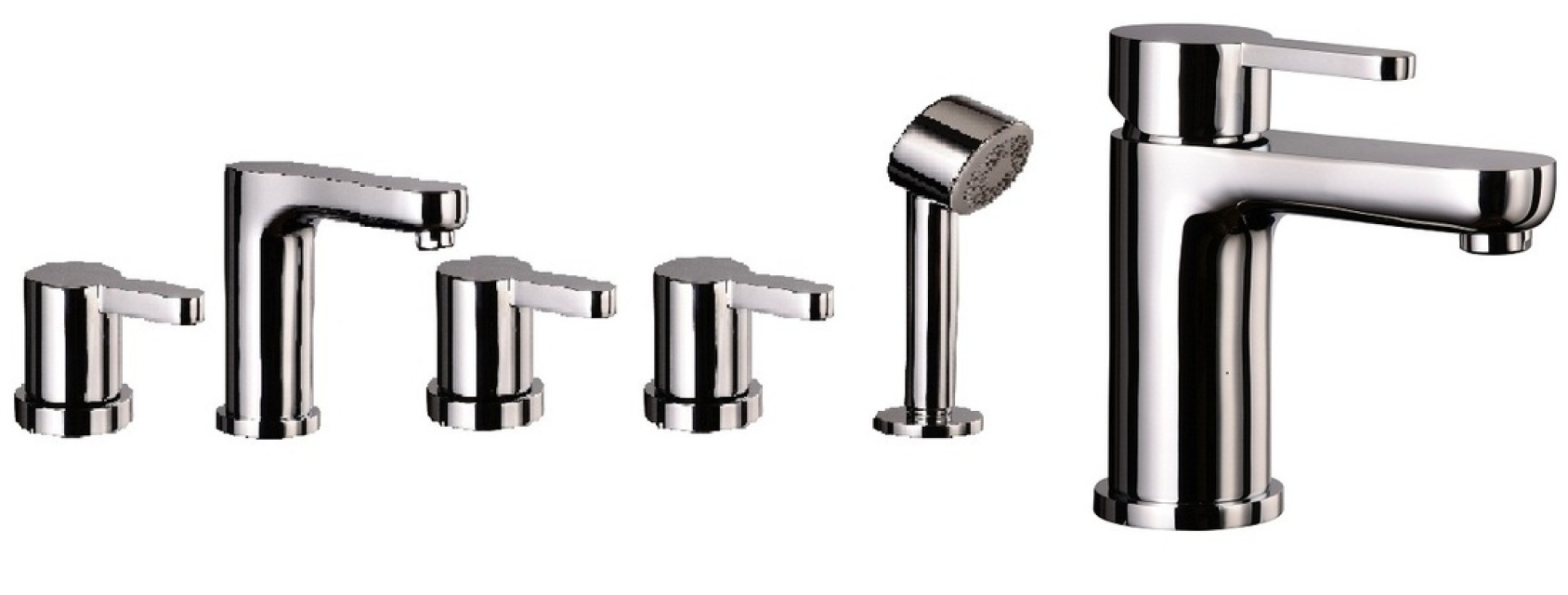 Mayfair Eion Basin & 5 Hole Bath Shower Mixer Tap Set