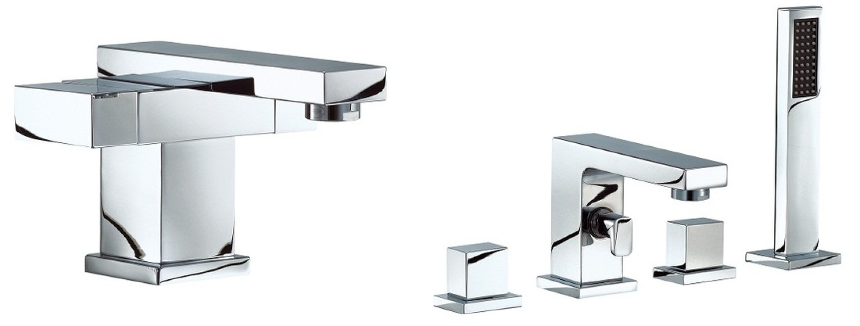 Mayfair Blox Basin & 4 Hole Bath Shower Mixer Tap Set